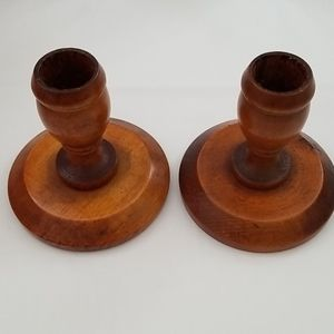 Set of wooden candle holders